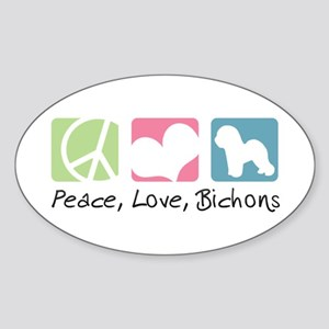 Peace, Love, Bichons Sticker (Oval)