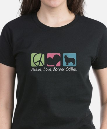 Peace, Love, Border Collies Women's Dark T-Shirt