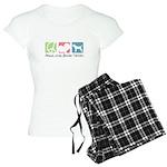 Peace, Love, Border Terriers Women's Light Pajamas