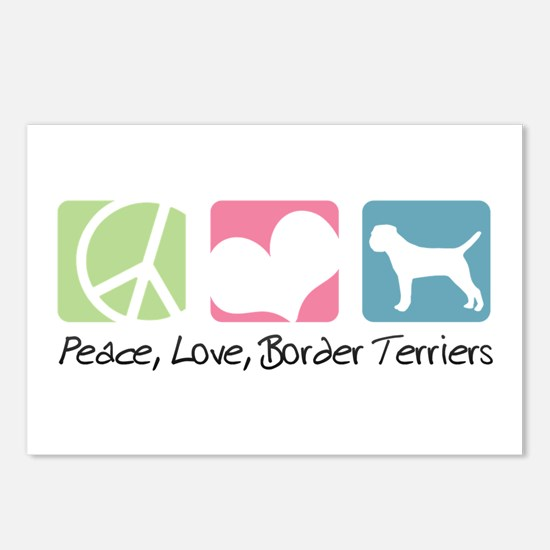 Peace, Love, Border Terriers Postcards (Package of