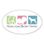 Peace, Love, Border Terriers Sticker (Oval 50 pk)