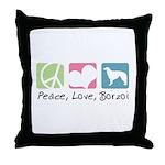 Peace, Love, Borzoi Throw Pillow