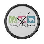Peace, Love, Borzoi Large Wall Clock