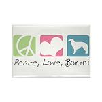 Peace, Love, Borzoi Rectangle Magnet (10 pack)