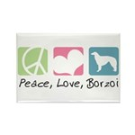 Peace, Love, Borzoi Rectangle Magnet (100 pack)