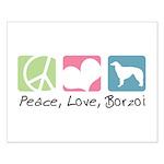 Peace, Love, Borzoi Small Poster