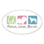 Peace, Love, Borzoi Sticker (Oval 50 pk)