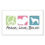 Peace, Love, Borzoi Sticker (Rectangle 50 pk)