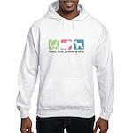 Peace, Love, Brussels Griffon Hooded Sweatshirt