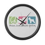 Peace, Love, Brussels Griffon Large Wall Clock
