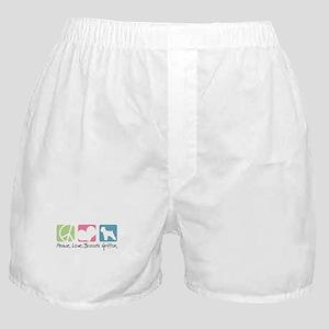Peace, Love, Brussels Griffon Boxer Shorts