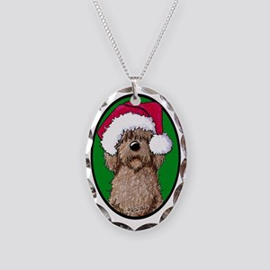 Santa Chocolate Doodle Necklace Oval Charm