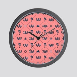 Sigma Alpha Epsilon Coral Pattern Wall Clock