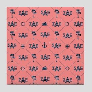 Sigma Alpha Epsilon Coral Pattern Tile Coaster