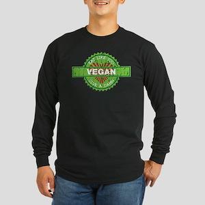 Vegan Eat Like You Give a Damn Long Sleeve Dark T-