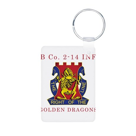 B Co 2-14 INF - Golden Dragon Aluminum Photo Keych