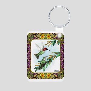 Hummingbirds and Flowers #4 Aluminum Photo Keychai