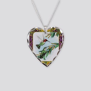 Hummingbirds and Flowers #4 Necklace Heart Charm