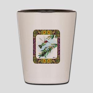 Hummingbirds and Flowers #4 Shot Glass