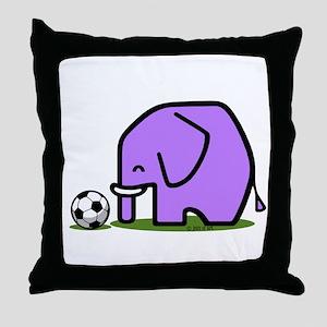 Soccer Elephant(1) Throw Pillow