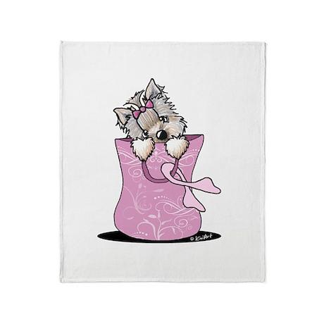 Pink Ribbon Yorkie Dog Throw Blanket