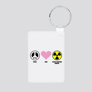 Bitch Slapping Cancer Aluminum Photo Keychain