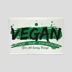 Vegan Peace Love Compassion Rectangle Magnet
