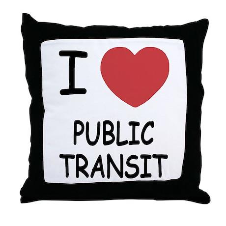 I heart public transit Throw Pillow