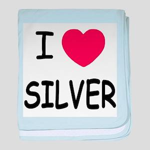I heart silver baby blanket