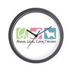 Peace, Love, Cairn Terriers Wall Clock