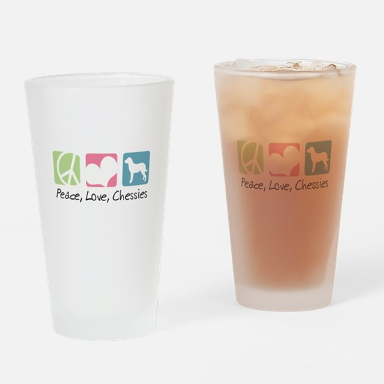 Peace, Love, Chessies Drinking Glass
