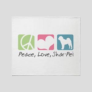 Peace, Love, Shar-Pei Throw Blanket