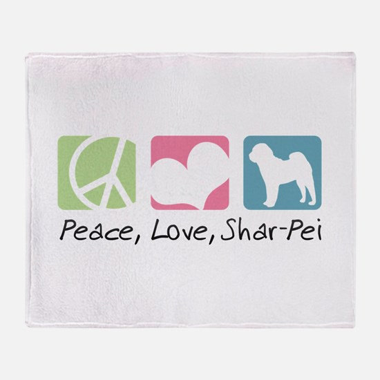 Peace, Love, Shar-Pei Throw Blanket