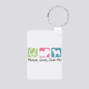 Peace, Love, Shar-Pei Aluminum Photo Keychain