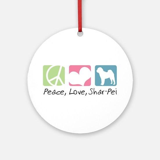 Peace, Love, Shar-Pei Ornament (Round)