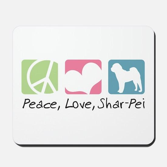 Peace, Love, Shar-Pei Mousepad