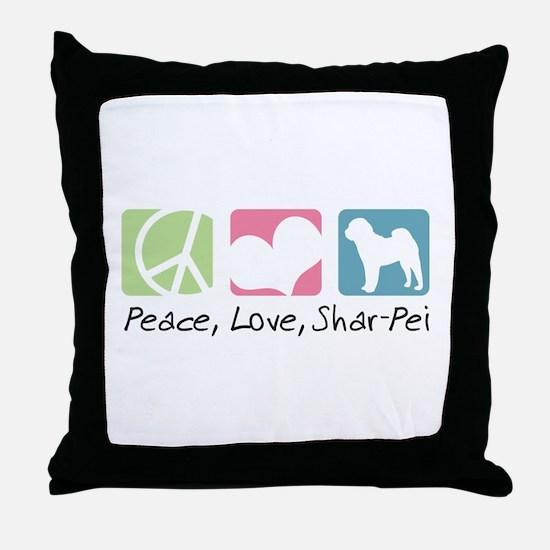 Peace, Love, Shar-Pei Throw Pillow