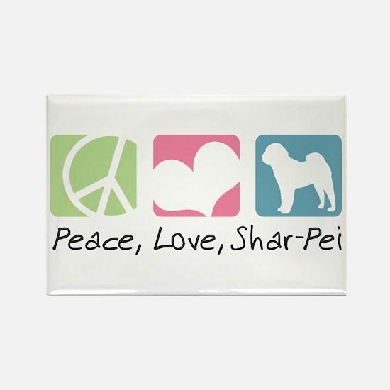 Peace, Love, Shar-Pei Rectangle Magnet