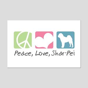 Peace, Love, Shar-Pei Mini Poster Print