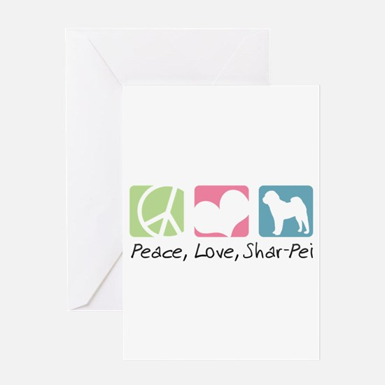 Peace, Love, Shar-Pei Greeting Card