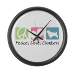 Peace, Love, Clumbers Large Wall Clock