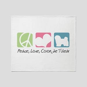 Peace, Love, Coton de Tulear Throw Blanket
