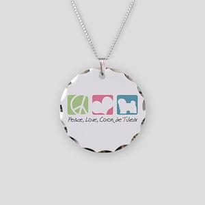 Peace, Love, Coton de Tulear Necklace Circle Charm