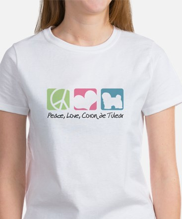 Peace, Love, Coton de Tulear Women's T-Shirt