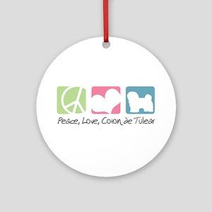 Peace, Love, Coton de Tulear Ornament (Round)