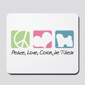 Peace, Love, Coton de Tulear Mousepad