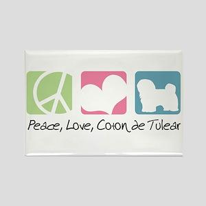 Peace, Love, Coton de Tulear Rectangle Magnet