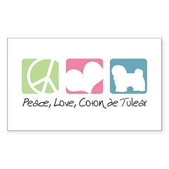 Peace, Love, Coton de Tulear Sticker (Rectangle)