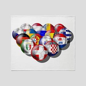 European Soccer Football Throw Blanket