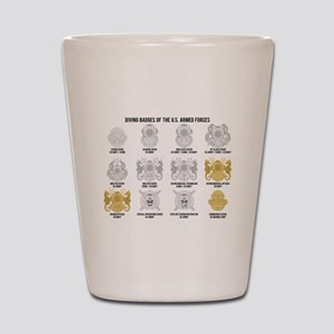 Diving Badges of the US Shot Glass